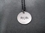RUN Round Charm Necklace - Nickel pendant priced with Gunmetal Chain