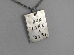 LIKE A GIRL NECKLACE - Choose either RUN Like a Girl, BIKE Like a Girl, SWIM Like a Girl or FIGHT Like a Girl - 3/4 x 1 inch Nickel Silver pendant with Gunmetal Chain