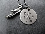 RUN LIKE A GIRL Necklace - Pewter Running Shoe with 3/4 inch Round Nickel Silver Charm priced with Gunmetal chain