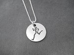 Pewter Round RUNNER GIRL Pendant on Sterling Silver Chain - Pewter pendant on Sterling Silver or Leather and Sterling Chain