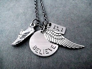 RUN BELIEVE FLY YOUR DISTANCE Necklace - Choose 5K, 10K, 13.1 or 26.2 - Nickel pendant and pewter charms priced with Gunmetal Chain