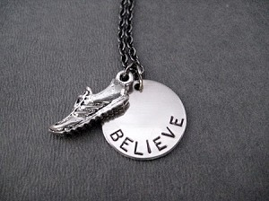BELIEVE IN YOUR RUN Running Shoe Necklace - Pewter Running Shoe and Nickel pendant priced with Gunmetal chain