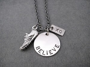 BELIEVE IN YOUR RUN XC Running Shoe Necklace - Pewter Running Shoe and Nickel pendants priced with Gunmetal chain