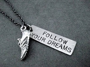 RUN FOLLOW YOUR DREAMS - 3/8 x 1 1/4 inch Hand Hammered Nickel silver Pendant plus Running Shoe Charm priced with Gunmetal chain