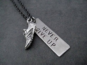RUN NEVER GIVE UP Necklace - 3/8 x 1 1/4 inch Hand Hammered Nickel silver Pendant and Running Shoe Charm priced with Gunmetal chain