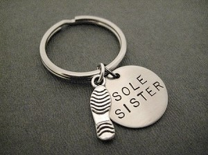 SOLE SISTER with Sterling Silver Shoe Print Charm Key Chain / Bag Tag - Sterling Silver Charm with 3/4 inch Round Nickel Silver Pendant - Choose 4 inch Ball Chain or Round Key Ring