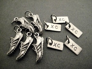 5 Pack Set - 5 Sets of RUNNING SHOE XC Charm Set - 1 Pewter Running Shoe Charm Plus 1 XC Charm in Each Set - Set in Organza Bag