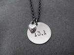 LOVE DISTANCE Necklace - Choose 5K, 10K, 13.1 or 26.2 Necklace - Nickel pendants and pewter charm priced with Gunmetal Chain