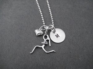 I LOVE TO RUN Sterling Silver INITIAL Necklace - Sterling silver pendants with Sterling or Leather and Sterling Chain