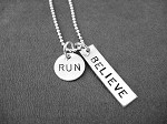STERLING SILVER BELIEVE IN YOUR RUN, 5K, 10K, 13.1 or 26.2 Sterling Silver pendant on Sterling or Leather and Sterling Chain