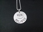 STERLING SILVER BELIEVE IN YOUR RUN - Sterling Silver pendants on Sterling Silver Ball chain