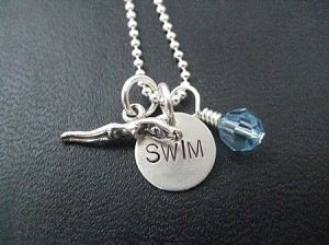 SWIM GIRL with CRYSTAL Sterling Silver Necklace - Sterling Silver Swimmer Girl Charm, Sterling Silver SWIM Charm PLUS Sterling Silver Wrapped Swarovski Crystal on Sterling Silver or Leather and Sterling Chain