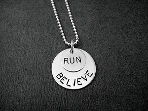 BELIEVE IN YOUR RUN - Sterling Silver pendants on Sterling Silver Ball chain