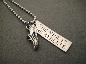 THE MIND IS THE ATHLETE Necklace - Zap Fitness Motto - Necklace / Bracelet / Key Chain - Pewter Running Shoe plus 3/8 x 1 1/4 inch Hand Hammered Nickel Silver Pendant on 24 inch Stainless Steel Ball Chain