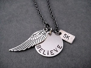 BELIEVE I CAN FLY DISTANCE Round Pendant Necklace - Choose 5K, 10K, 13.1 or 26.2 - Pewter Wing and Nickel pendants priced with Gunmetal chain