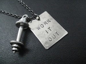 WORK IT OUT with BARBELL Necklace - Nickel pendant with Pewter Barbell Charm priced with Gunmetal Chain