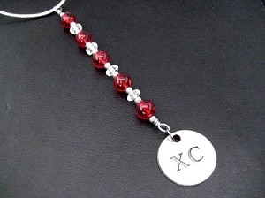 XC Icicle Ornament - Pewter XC Charm Dangling from a Hand Beaded Ornament - Choose your Color
