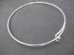 ONE (1) 63mm long 1.5mm thick Silver Plated Wire Expandable Bangle Bracelet with 3mm Ball Ends - Adjustable Silver Plated Bangle Bracelet