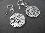 SWIM BIKE RUN - TRI Sterling Silver Earrings - Sterling Silver 3/4 Inch Round Pendants on a 12mm French Ear Wire with a 2mm ball