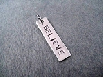 Nickel Silver BELIEVE Rectangle Charm