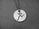 RUNNER GIRL Round Pendant Necklace - Pewter pendant priced with Gunmetal Chain