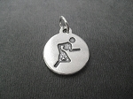 Sterling Silver ROUND RUNNER Charm - 3/4 inch Round - 1mm thick