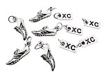 Pewter 5 Pack Set - 5 Sets of RUNNING SHOE Pewter XC Charm Set - 1 Pewter Running Shoe Charm Plus 1 Pewter XC Charm in Each Set - Each Set in Organza Bag