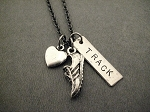 LOVE TO RUN TRACK Necklace - Pewter Heart and Pewter Shoe with Nickel pendant priced with gunmetal chain