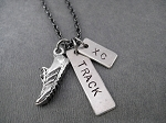 RUN TRACK XC Necklace - Nickel pendants with Pewter Running Shoe Charm priced with gunmetal chain